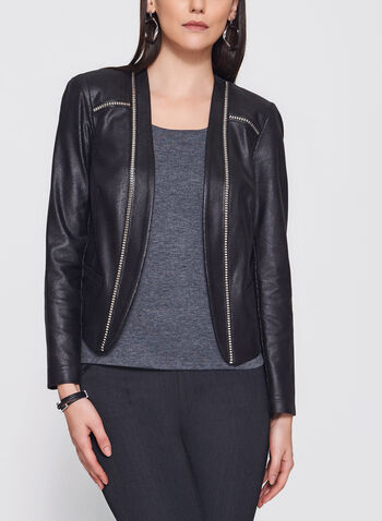 Vex - Open Front Faux Leather Jacket, Black, hi-res
