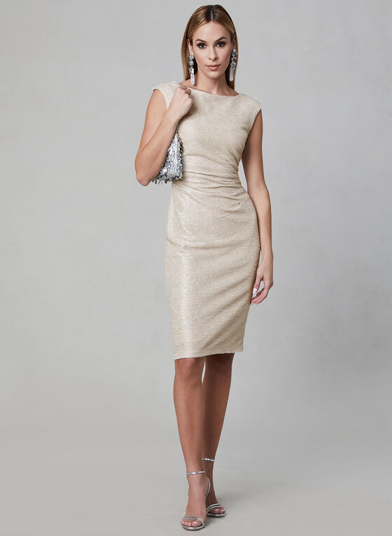 Marina - Metallic Sheath Dress, Brown, hi-res