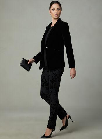 Floral Print Velour Pants, Black, hi-res