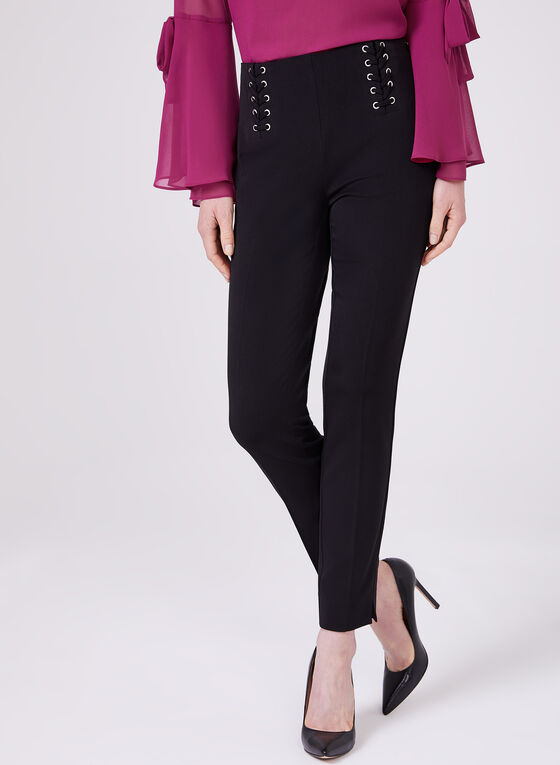 Lace Up Detail Slim Leg Pants, Black, hi-res