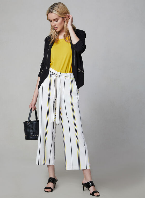 Jupe-culotte à rayures contrastantes, Blanc