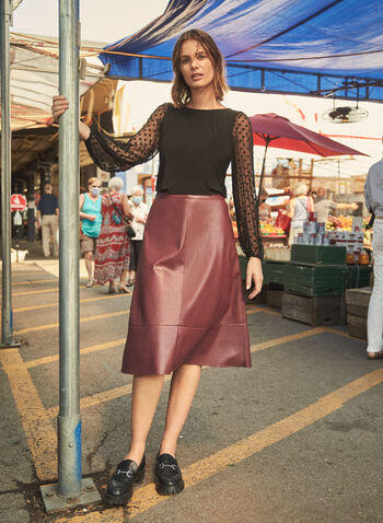 Vegan Leather Skirt, Red,  fall winter 2021, made in Canada, online exclusive, ecomm exclusive, high rise, back zipper, A-line, A line, vegan leather, faux leather, skirt, knee length, midi length
