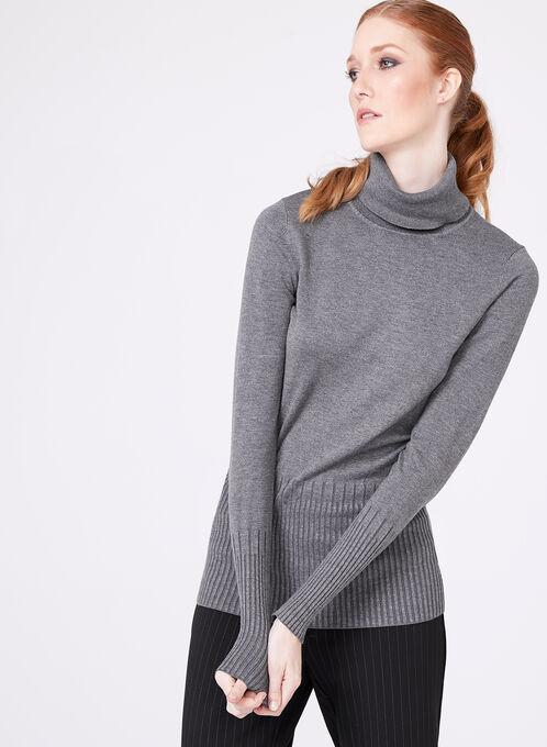 Pull en tricot à col roulé avec taille marquée, Gris, hi-res