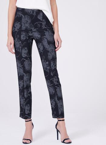Frank Lyman - Pull-On Floral Print Ankle Pants, Black, hi-res