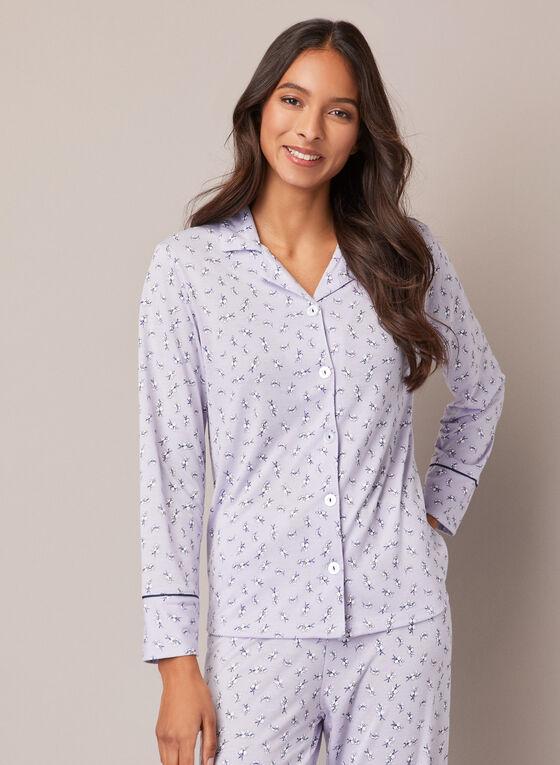 Ensemble pyjama à motif fleurs, Violet