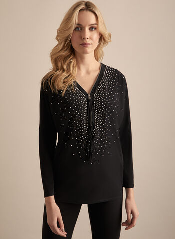 Joseph Ribkoff - Rhinestone Embellished Top, Black,  top, 3/4 sleeves, zipper, v neck, rhinestones, jersey, spring summer 2020