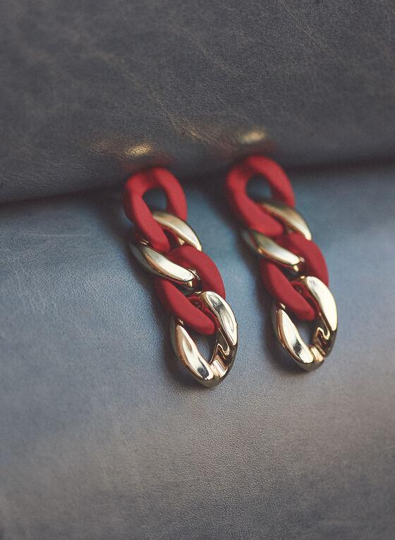 2-Tone Chain Link Earrings, Red