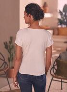 T-shirt à manches courtes et poche , Blanc cassé
