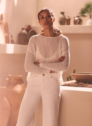 Open Weave Knit Sweater, White,  sweater, knit, open knit, open weave, long sleeves, boat neck, spring summer 2021