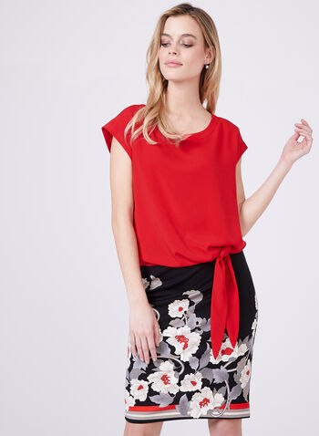 Sleeveless Tie Detail Blouse, Red, hi-res