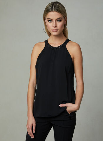 Studded Neck Sleeveless Blouse, Black, hi-res
