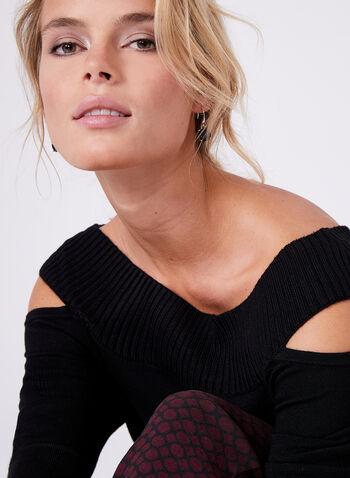 Pull tricoté à col Cléopâtre et épaules ajourées, Noir, hi-res