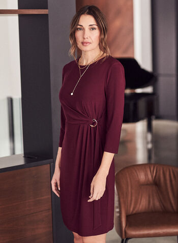 Ring Detail Faux Wrap Dress, Red,  dress, day, wrap, sheath, 3/4 sleeves, round neck, belt, ring, fall winter 2020