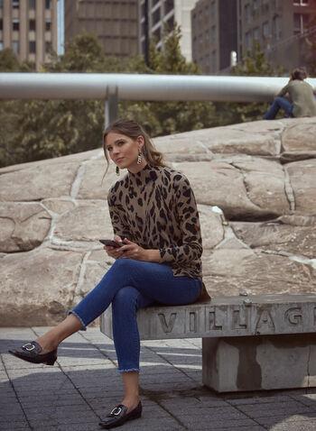 Leopard Print Tunic, Beige,  fall winter 2021, top, tunic, mock neck, long sleeve, animal print, cheetah print,