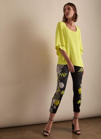 Joseph Ribkoff - Capri à motif floral, Noir,  printemps été 2020, capri, pull-on, taille élastique, fait au Canada, fleurs, fleuri, floral, motif