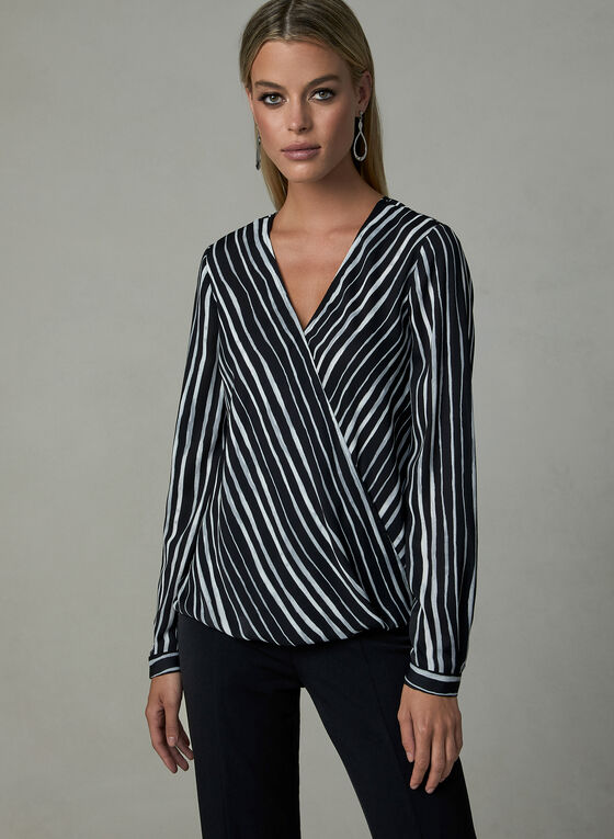 Stripe Print V-Neck Blouse, Grey, hi-res