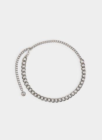 Metallic Chain Belt, Silver, hi-res