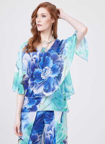 Frank Lyman - Floral Print Poncho Blouse, Blue, hi-res