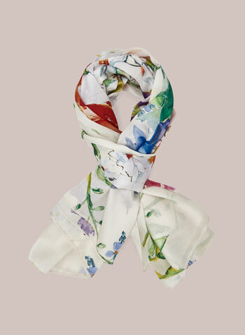 Watercolour Print Lightweight Scarf, Multi,  scarf, floral, watercolour, square, sheer, spring summer 2020