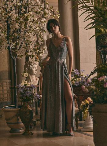 BA Nites - V-Neck Glitter Gown, Pink,  prom dress, gown, column, v-neck, glitter, spaghetti straps, jersey, high slit, pockets, spring summer 2020