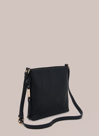 Square Crossbody Bag, Black,  handbag, crossbody, faux leather, metallic, topstitch, square, fall winter 2020