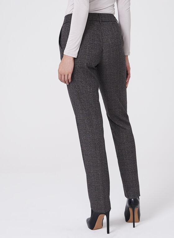 Pantalon jambe droite et motif tartan, Gris, hi-res