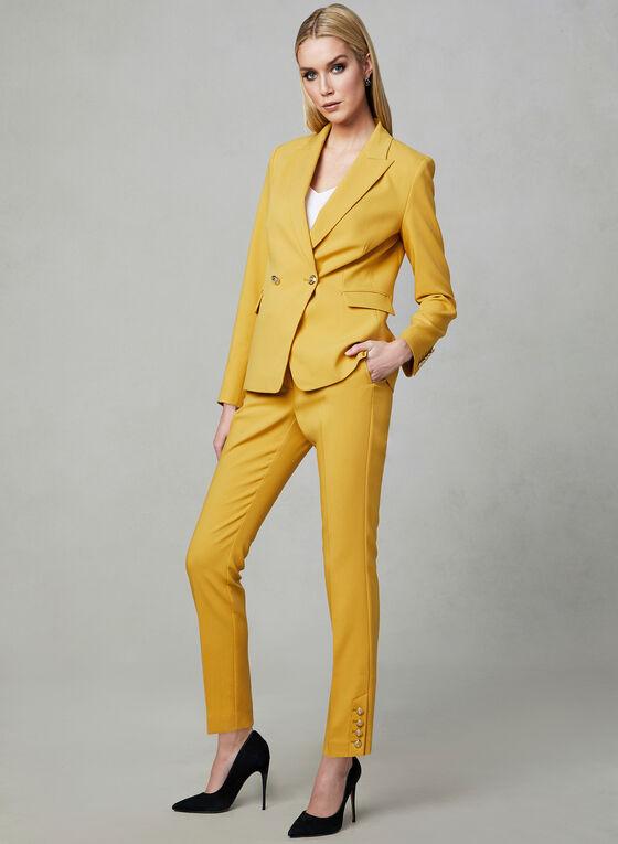 Lapel Collar Blazer, Yellow, hi-res