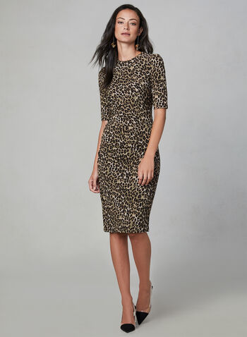 Vince Camuto - Leopard Print Dress, Brown, hi-res,  leopard print, animal print, fall winter 2019, elbow sleeves, knee length, stretchy
