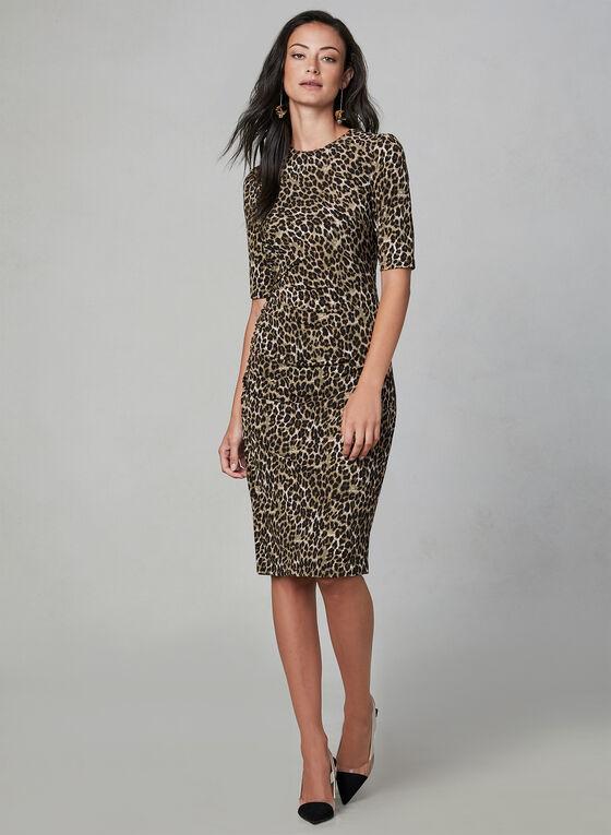 Vince Camuto - Robe fourreau motif léopard, Brun, hi-res