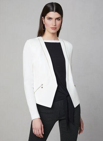 Vex - Veste à détails zippés, Blanc cassé,  coupe ajustée, détails métalliques, manches longues, printemps 2019