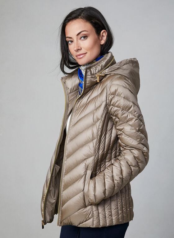 Anne Klein - Short Down Quilt Coat, Off White, hi-res