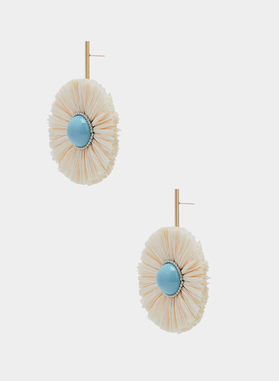 Raffia Dangle Earrings, Off White, hi-res