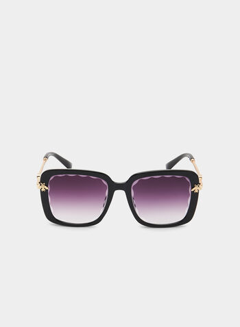 Oversized Square Sunglasses, Black, hi-res,  bee detail, metallic arms, plastic, spring 2019, summer 2019