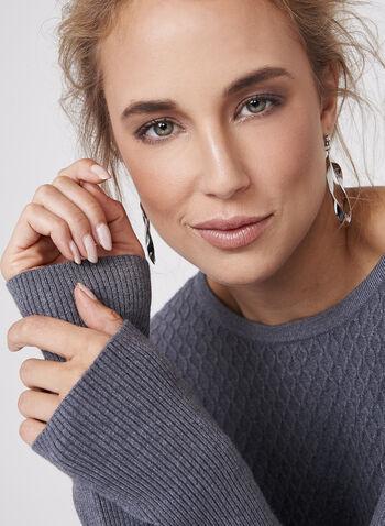 Pull en tricot texturé avec zips , Gris, hi-res