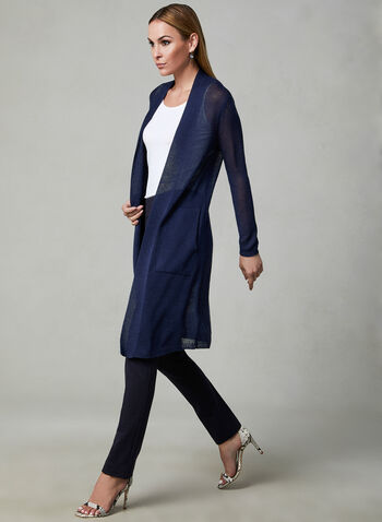 Long Open Front Cardigan, Blue, hi-res,