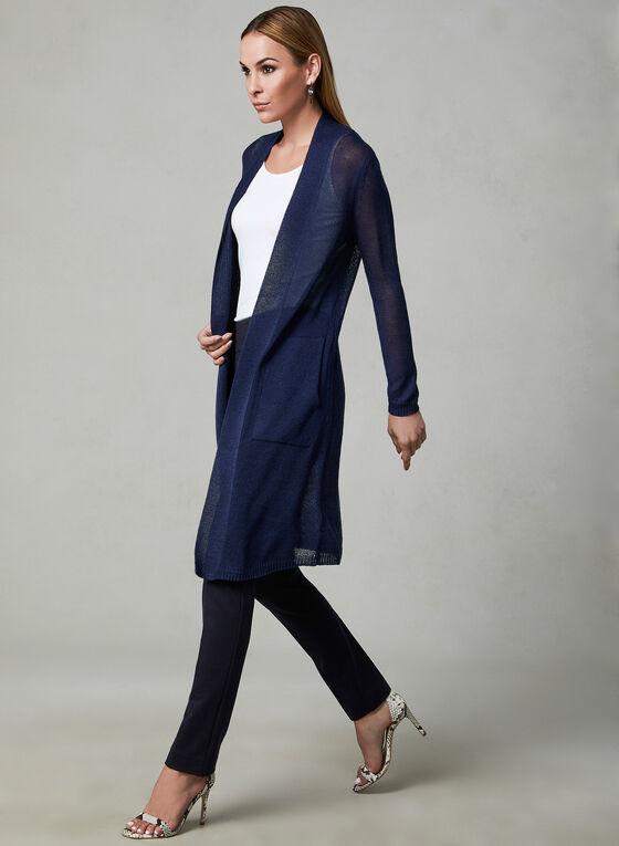 Cardigan ouvert long en maille tricotée, Bleu, hi-res