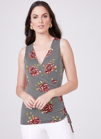 Floral Print Faux Wrap Top, Black, hi-res