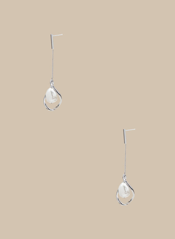Pearl Bottom Dangle Earrings, Off White