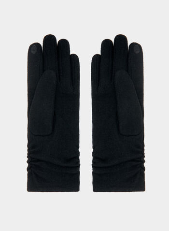 Mink Detail Wool Gloves, Black, hi-res