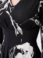 Floral Print Peplum Top , Black, hi-res