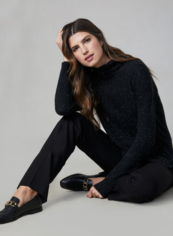 Speckled Knit Turtleneck, Black