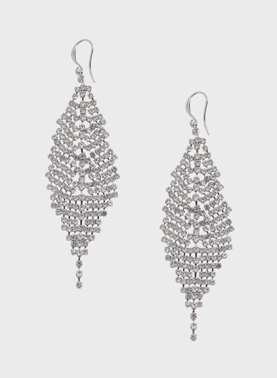 Boucles d'oreilles à pendants en cristaux, Argent, hi-res