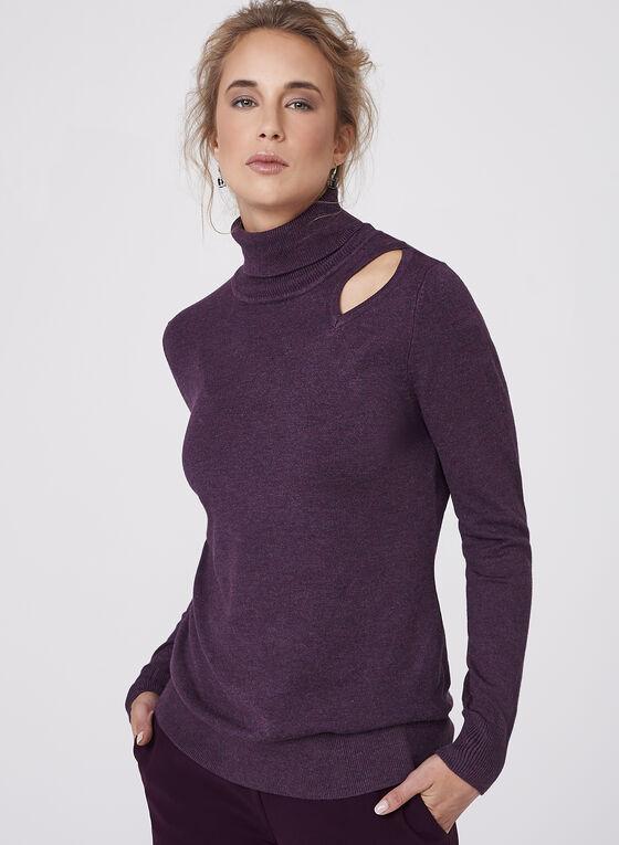 Elena Wang - Pull tricot ajouré avec col roulé, Violet, hi-res