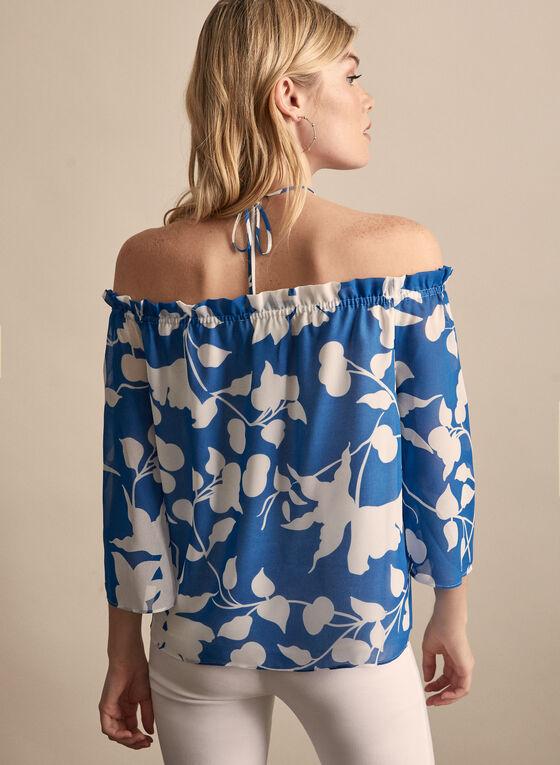 Floral Print Off-The-Shoulder Blouse, Blue