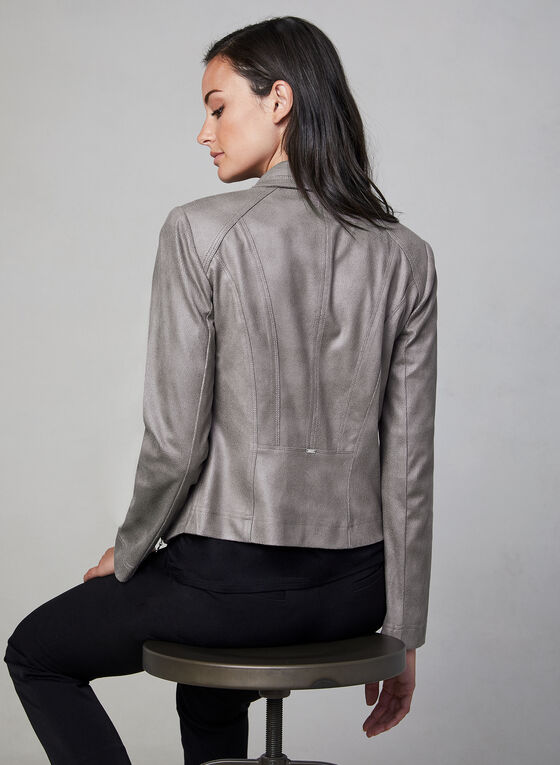 Vex - Faux Suede Fitted Jacket , Grey
