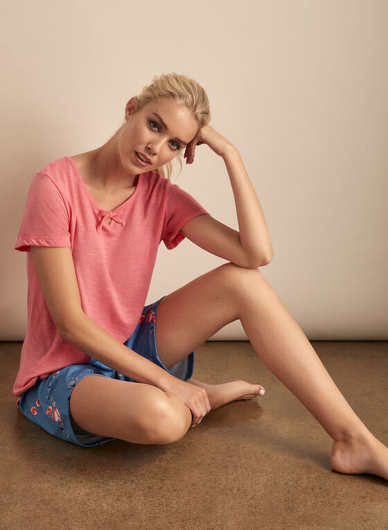 Claudel Lingerie - Floral Print Bottom & T-Shirt Pyjama Set, Orange