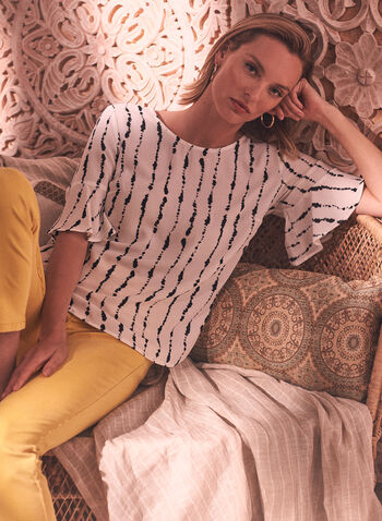 Abstract Stripe Print Blouse, Off White,  spring summer 2021, made in Canada, blouse, top, striped, stripe print, abstract print, round neck, flare sleeve, short sleeve, elbow sleeve