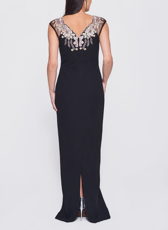 Decode 1.8 - Floral Embroidered Mesh Sleeve Dress, Black, hi-res