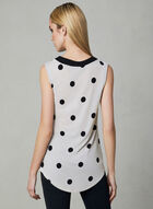 Polka Dot Print Sleeveless Top, White, hi-res