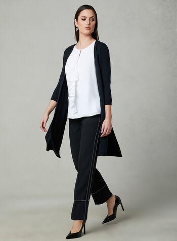 Pantalon à jambe droite et coutures contrastantes, Noir, hi-res